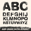 Hand drawing alphabet. Vector — Stock Vector