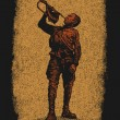 Soviet Young Pioneer blows the bugle. drawing style. - Image vectorielle