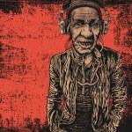 Elderly man with headphones listening to music — Stock Vector