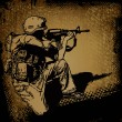 Soldier with a gun and grunge background. vector illustration. - Stok Vektör