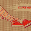Royalty-Free Stock Vektorfiler: Background with female legs in striped stockings and sneakers