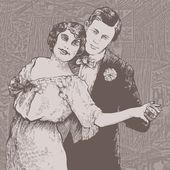 Man and woman dance a tango. — Stock Vector