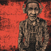 Elderly man with headphones listening to music — Stock vektor