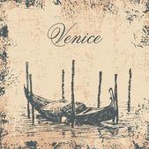 Background with venetian gondola. retro style. — Stock Vector