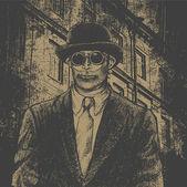 Man in dark glasses and bowler hat. — Stock Vector