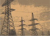 High-voltage tower and grunge scratched background. retro style. vector illustration — Stockvector