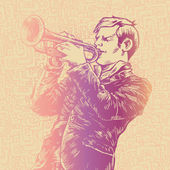 Trumpeter in retro style. — Stock Vector