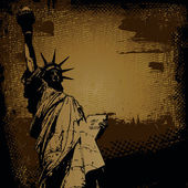 Statue of Liberty and retro scratch background — Stock Vector
