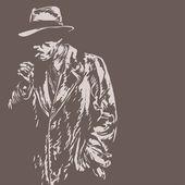 Man in hat, graffiti style, vector illustration — Stock Vector