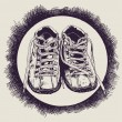 old sneakers and grunge drawing texture . — Stock Vector