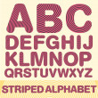 Striped alphabet. color version. Vector — Imagen vectorial
