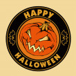 Emblem happy halloween with evil pumpkin. — Stockvektor