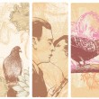 Vertical banners with man and woman kissing and birds flowers. - Stockvektor