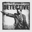 Man with revolver pistol and grunge background with the word Detective. - Stock Vector