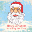 Greeting Christmas Card with Funny Santa and words Merry Christmas and Happy New Year! — Stock Vector