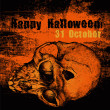 Halloween poster with skull and grunge scratched background. — Imagens vectoriais em stock