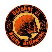 "Emblem ""happy halloween"" with skull. — Stock Vector"