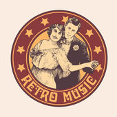 """Emblem """"retro music"""" with man and woman dance a tango — Stock Vector"""