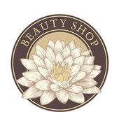 "Emblem ""beauty shop"" with lotus. — Stock Vector"