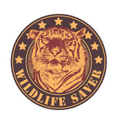"Emblem ""wildlife saver"" with tiger head. — Stock Vector"
