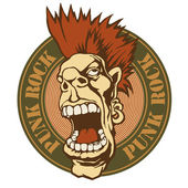 "Emblem ""punk rock"" with screaming punk head. — Stock Vector"