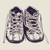 Old sneakers — Stock Vector