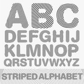 Striped alphabet. black and white version. Vector — Stock Vector