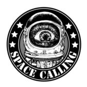"""Emblem """"space calling"""" with amazement astronaut. vector illustration. — Stock Vector"""
