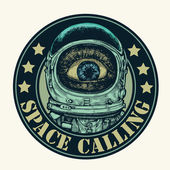 "Emblem ""space calling"" with amazement astronaut. — Stock Vector"