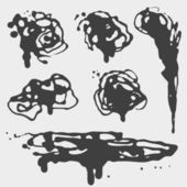 Black ink blots and stains set. — Stock Vector