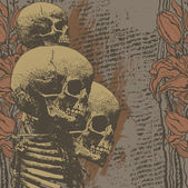 Floral background with skulls — Vector de stock