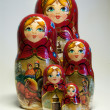 Beautiful Russian Matreshka with Russian traditional bread - Stok fotoğraf