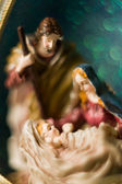 Nativity scene. Josef and Mary with the young Jesus Christ in her arms — Stock Photo