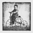 Boy on retro tricycles and grunge background. - Stockvectorbeeld