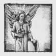 Royalty-Free Stock Векторное изображение: Sorrowful angel with a bouquet of roses and abstract drawing background and grunge frame.