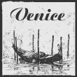 Venetian gondola and abstract drawing background with the word Venice and grunge frame. - Stock Vector