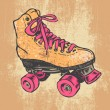 Retro Roller Skate And Grunge Texture Background. - Stock Vector
