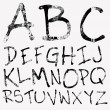 Hand drawing grunge alphabet. — Stock Vector