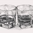 Whiskey in two glasses. engraved retro style. - Stock Vector