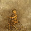 Boy on retro bicycle. - Stock Photo