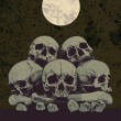 Skulls, bones, full moon and grunge background with place for your text. — Vector de stock