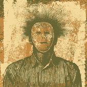Anonieme man in het masker en grunge achtergrond. — Stockvector