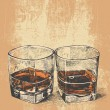 Whiskey in two glasses. engraved retro style. — Stock Vector