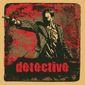 Man with revolver pistol and grunge background with the word Detective. vector illustration. drawing style. — Stockvektor