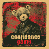 Man in a bear mask and grunge scratched background with the word Confidence Game. vector illustration. — Stock Vector