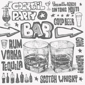 Crazy bar doodles, hand drawn design elements. vector illustration — Stock Vector