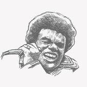 Chanteuse de soul afro avec microphone. — Vecteur
