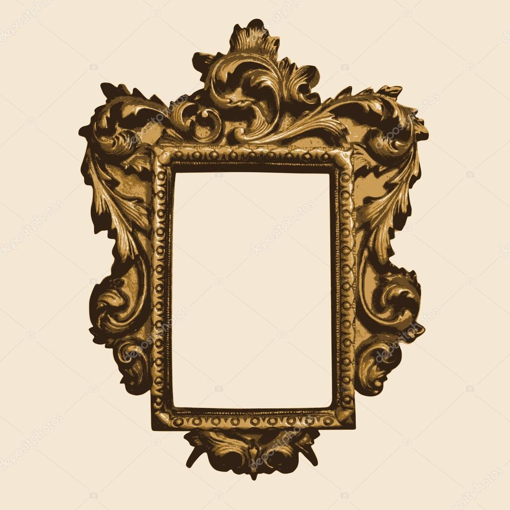 Vector vintage border frame with retro ornament pattern in for Rococo style frame