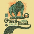 Retro Green Beast design for bar sign board or t-shirt print  — Stock Vector