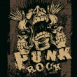 "Retro design ""Punk Rock"" for t-shirt print, with screaming punk head — Stock Vector"